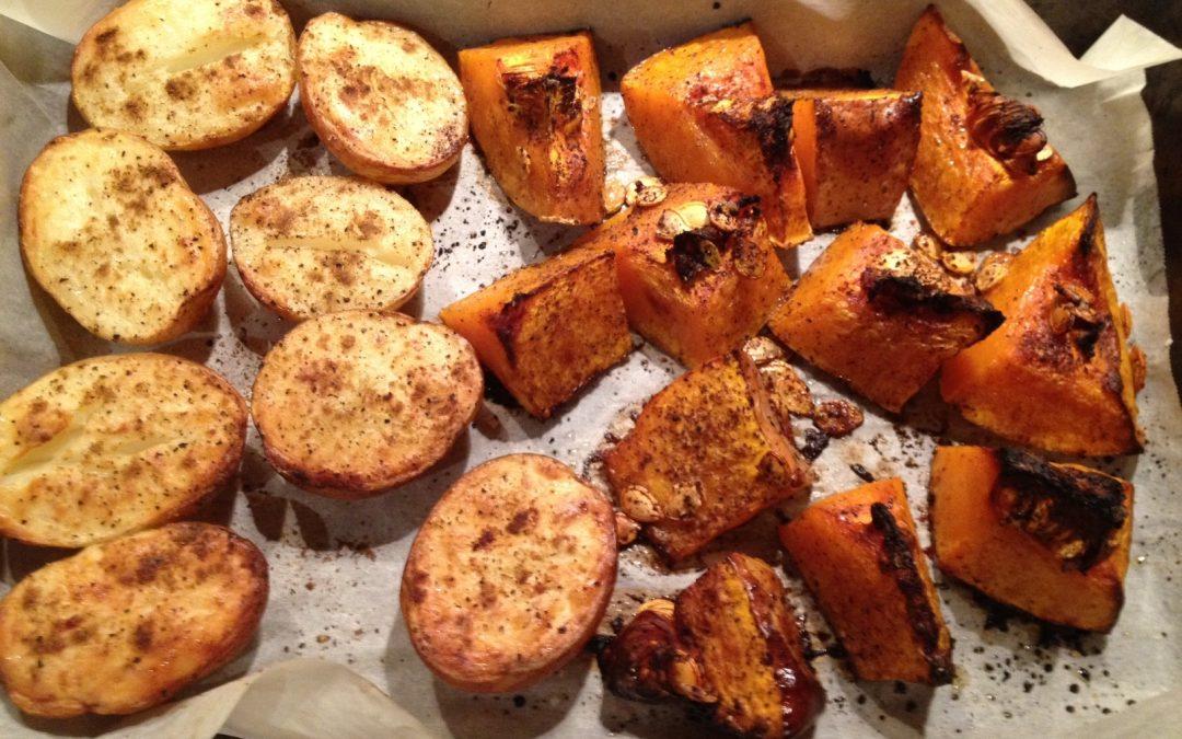 Warzywa z piekarnika (dynia, cukinia, ziemniaki)
